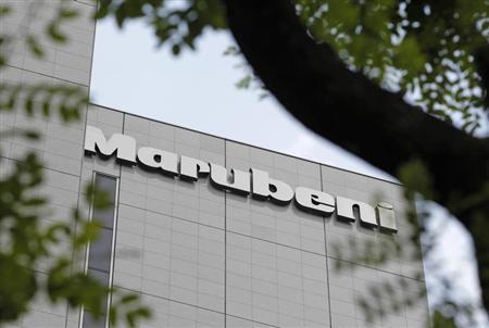 A logo of Japanese trading house Marubeni Corp is seen on the company's headquarters in Tokyo May 29, 2012. REUTERS/Yuriko Nakao