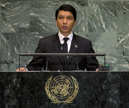 President of Madagascar Andry Nirina Rajoelina addresses the 67th session of the United Nations General Assembly at U.N. headquarters in New York, September 26, 2012. REUTERS/Ray Stubblebine