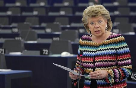European Union Justice Commissioner Viviane Reding addresses the European Parliament during a debate on the constitutional situation in Hungary in Strasbourg, April 17, 2013. REUTERS/Vincent Kessler