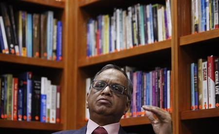 N. R. Narayana Murthy, founder and chairman of Infosys, listens to a question during an interview with Reuters at the company's office in Bangalore February 28, 2012. REUTERS/Vivek Prakash