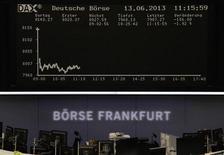 Les Bourses européennes réduisent leurs pertes à la mi-séance jeudi, dans des marchés qui restent marqués par le désengagement des investisseurs vis-à-vis des actifs à risque dans la crainte que la Réserve fédérale ne commence bientôt à réduire son soutien à l'économie et aux marchés. Le CAC 40 perdait 0,77% vers 10h55 GMT, le Dax cédait 1,47% et le FTSE 100 1%, comme l'indice paneuropéen EuroStoxx 50. /Photo prise le 13 juin 2013/REUTERS/Remote/Lizza David