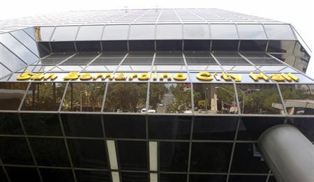 The front of San Bernardino City Hall July 11, 2012. REUTERS/Alex Gallardo