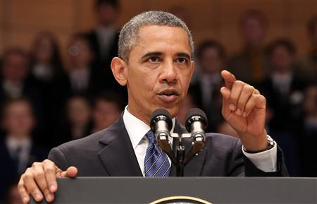 U.S. President Barack Obama speaks to guests at the Waterfront Hall in Belfast June 17, 2013. REUTERS/Paul Faith/Pool