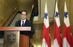 Montreal mayor Michael Applebaum announces his resignation during a news conference in Montreal, Quebec, June 18, 2013. REUTERS/Christinne Muschi