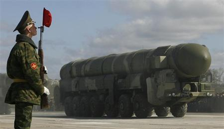 A Topol-M intercontinental ballistic missile launcher takes part in a rehearsal for the May 9 Victory Day parade in a military base in Alabino outside Moscow April 22, 2008. REUTERS/Denis Sinyakov