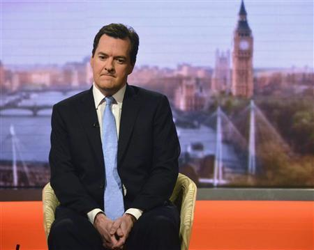 Britain's Chancellor of the Exchequer George Osborne appears on the BBC's Andrew Marr Show, presented by Sophie Raworth, in this photograph provided by the BBC, in London June 23, 2013. REUTERS/Jeff Overs/BBC/Handout via Reuters
