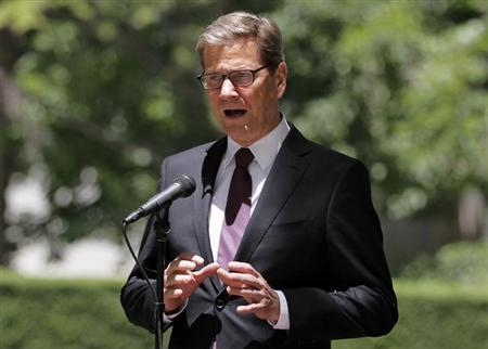 German Foreign Affairs Minister Guido Westerwelle speaks during a joint news conference with his Afghan counterpart Zulmai Rasoul at the Presidential Palace in Kabul June 8, 2013. REUTERS/Ahmad Jamshid/Pool