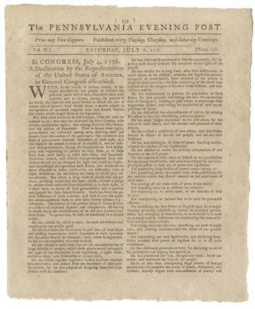 A handout photo shows the Declaration of Independence on the front page of the Pennsylvania Evening Post dated July 6, 1776 provided by Seth Kaller, Inc., on June 26, 2013. REUTERS/Seth Kaller Inc./Handout via Reuters