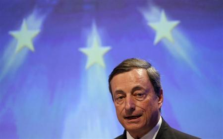 European Central Bank (ECB) President Mario Draghi gives a speech during an economic conference organized by the conservative Christian Democratic Union (CDU) party in Berlin June 25, 2013. REUTERS/Fabrizio Bensch