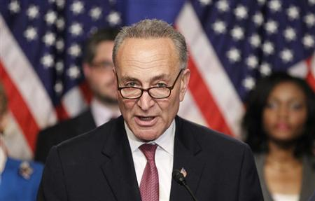 U.S. Senator Chuck Schumer, part of the U.S. Senate's ''Gang on Eight'', speaks during a news briefing on Capitol Hill in Washington, April 18, 2013. REUTERS/Jason Reed