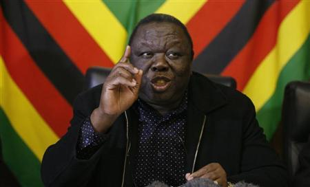 Zimbabwe Prime Minister and leader of the opposition Movement for Democratic Change (MDC) Morgan Tsvangirai speaks at a news conference in Harare, June 13, 2013. REUTERS/Philimon Bulawayo