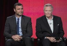"""Actors Liev Schreiber (L) and Jon Voight of the show """"Ray Donovan"""" listen to a question on stage during the Showtime panel presentation of the 2013 Winter Television Critics Association Press Tour at the Langham Huntington Hotel in Pasadena, California, January 12, 2013. REUTERS/Bret Hartman"""