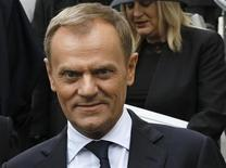 Poland's Prime Minister Donald Tusk leaves after attending the funeral service of former British prime minister Margaret Thatcher at St Paul's Cathedral, in London April 17, 2013. REUTERS/Olivia Harris