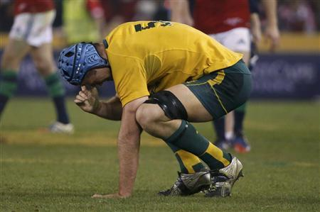 Australia Wallabies captain James Horwill reacts after winning their rugby union test match against the British and Irish Lions at the Etihad Stadium in Melbourne June 29, 2013. REUTERS/David Gray