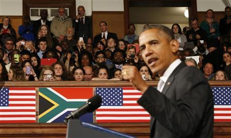 U.S. President Barack Obama delivers remarks at the University of Cape Town, June 30, 2013. REUTERS/Jason Reed (SOUTH AFRICA - Tags: POLITICS)