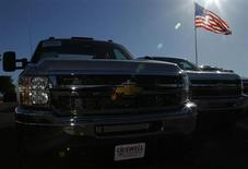Chevrolet Silverado pick up trucks are seen in Gaithersburg, Maryland May 1, 2013. REUTERS/Gary Cameron