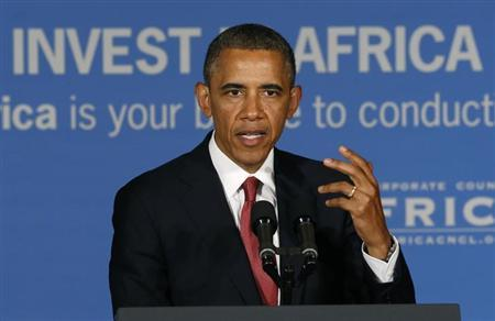 U.S. President Barack Obama delivers remarks at a business leaders forum in Dar es Salaam July 1, 2013. REUTERS/Jason Reed