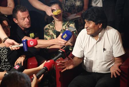 Bolivian President Evo Morales addresses a news conference at the Vienna International Airport in Schwechat July 3, 2013. REUTERS/Heinz-Peter Bader
