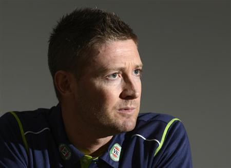 Australia's cricket captain Michael Clarke looks on during a news conference at the Radisson Blu hotel in Bristol June 24, 2013. REUTERS/Philip Brown