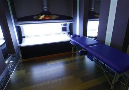 A view of a tanning bed at a spa facility at Mistral Hotel, which the Spanish soccer team has chosen as their hub for the Euro 2012 soccer championships, is seen in Gniewino in this November 30, 2011 file photo. REUTERS/Peter Andrews