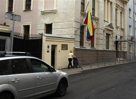 A car drives past the embassy of Venezuela in Moscow, July 9, 2013. REUTERS/Sergei Karpukhin