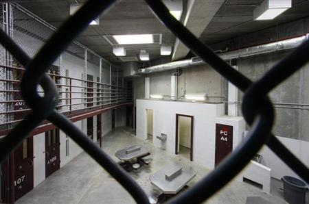 The interior of an unoccupied communal cellblock is seen at Camp VI, a prison used to house detainees at the U.S. Naval Base at Guantanamo Bay, March 5, 2013. REUTERS/Bob Strong