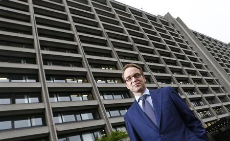 Germany's federal reserve Bundesbank President Jens Weidmann poses in front of the Bundesbank headquarters during a photo shoot with Reuters in Frankfurt May 17, 2013. REUTERS/Kai Pfaffenbach