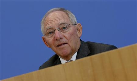 German Finance Minister Wolfgang Schaeuble addresses a news conference to presents 2014 federal budget bill in Berlin June 26, 2013. REUTERS/Fabrizio Bensch
