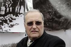 File picture shows Simon Wiesenthal Center Director Efraim Zuroff as he attends a protest against the annual procession commemorating the Latvian Waffen SS unit, also known as the Legionnaires, in Riga March 16, 2012. REUTERS/Ints Kalnins/Files