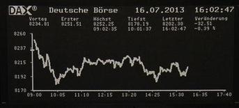 Les Bourses européennes ont terminé en baisse mardi, après la parution d'un indicateur décevant sur l'économie allemande. Le CAC 40 parisien a terminé en baisse de 0,71%, le Footsie britannique a perdu 0,45% et le Dax allemand a cédé 0,41%, tandis que l'indice EuroStoxx 50 recule de 0,78%. /Photo prise le 16 juillet 2013/REUTERS/Remote