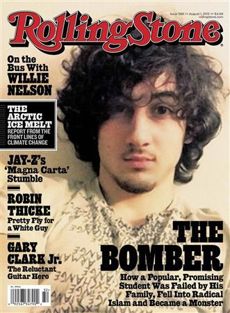 Accused Boston bomber Dzhokhar Tsarnaev is seen on the cover of the August 1 issue of ''Rolling Stone'' magazine in this handout image received by Reuters July 17, 2013. REUTERS/Rolling Stone Magazine/Handout via Reuters