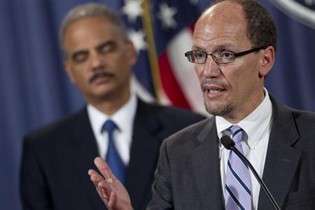 Assistant Attorney General for the Civil Rights Division Thomas E. Perez speaks during a news conference at the Department of Justice in Washington D.C. December 21, 2011. REUTERS/Benjamin Myers