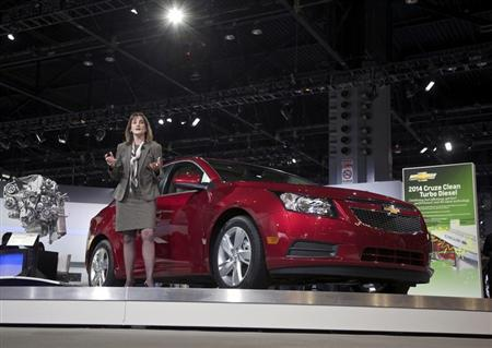 Cristi Landy, Chevrolet marketing director for small cars speaks during the debut of the 2014 Chevy Cruze Clean Turbo Diesel at the Chicago Auto Show, February 7, 2013. REUTERS/John Gress