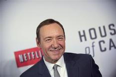 """Actor Kevin Spacey arrives at the premiere of Netflix's television series """"House of Cards"""" at Alice Tully Hall in the Lincoln Center in New York City in this file photo taken January 30, 2013. Netlix scored big with Thursday's Emmy nominations as its """"House of Cards"""" picked up nominations for Outstanding Drama Series and for leads Kevin Spacey and Robin Wright, REUTERS/Stephen Chernin/Files (UNITED STATES - Tags: ENTERTAINMENT)"""