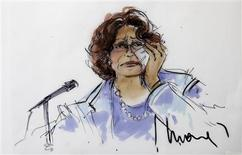 A courtroom sketch depicting the testimony of Katherine Jackson, mother of late pop star Michael Jackson, is pictured during Katherine Jackson's negligence suit against AEG Live at Los Angeles Superior Court in Los Angeles, California July 19, 2013. REUTERS/Mona Edwards