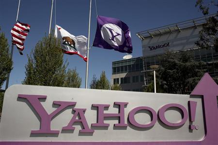 The Yahoo logo is shown at the company's headquarters in Sunnyvale, California April 16, 2013. The company will release its quarterly results on Tuesday. REUTERS/Robert Galbraith
