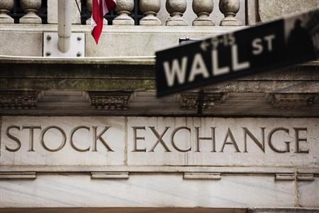 A street sign for Wall Street hangs in front of the New York Stock Exchange May 8, 2013.REUTERS/Lucas Jackson
