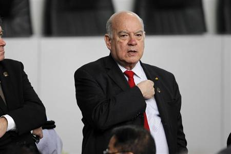 Jose Miguel Insulza, Secretary General of the Organization of American States (OAS) attends as an official guest the speech of Mexico's new President Enrique Pena Nieto at the National Palace in Mexico City December 1, 2012 file photo. REUTERS/Edgard Garrido