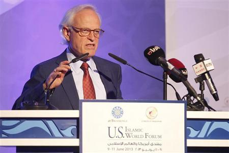 Vice president and director of the Foreign Policy Program at the Brookings Institution in Washington D.C. , Martin Indyk, speaks during the U.S.- Islamic World Forum in Doha June 9, 2013. REUTERS/Mohammed Dabbous