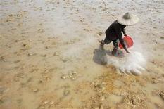 Фермер вносит удобрения на поле в пригороде Интаня 25 апреля 2007 года. Российский агрохимический холдинг Еврохим сообщил в понедельник, что договорился с китайской Migao Corporation о совместном производстве калийных и сложных удобрений на юге Поднебесной. REUTERS/Stringer