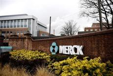 Логотип Merck & Co. в кампусе компании в Линдене, Нью-Джерси 9 марта 2009 года. Квартальная прибыль Merck & Co сократилась из-за падения продаж лекарственных средств для животных, а также замедления спроса на лекарства от диабета и артрита. REUTERS/Jeff Zelevansky