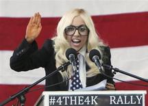 Singer Lady Gaga speaks at a rally in Portland, Maine, September 20, 2010 urging members of the Senate to repeal the military rule banning openly gay people from serving in the armed forces. REUTERS/Joel Page