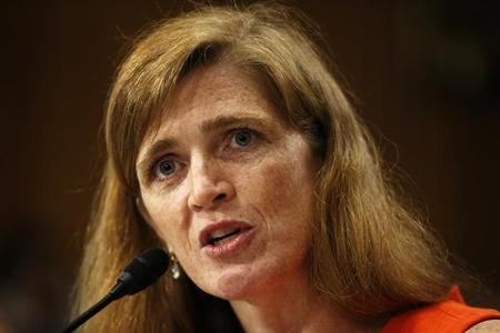 Samantha Power, a former White House aide and Harvard professor, testifies before a Senate Foreign Relations Committee confirmation hearing on her nomination to succeed Susan Rice as U.S. ambassador to the United Nations, on Capitol Hill in Washington July 17, 2013. REUTERS/Kevin Lamarque