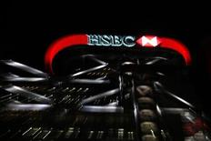 The logo of HSBC is seen on a building in Hong Kong August 1, 2011. REUTERS/Tyrone Siu