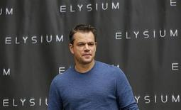 "Cast member Matt Damon poses during a photo call for ""Elysium"" in Los Angeles, California August 2, 2013. The movie opens in the U.S. on August 9. REUTERS/Mario Anzuoni"