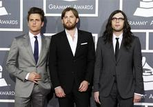 Rock band Kings of Leon pose on arrival at the 53rd annual Grammy Awards in Los Angeles, California February 13, 2011. REUTERS/Danny Moloshok
