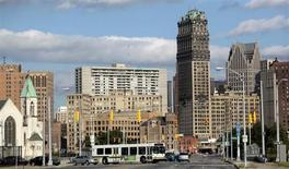 Downtown Detroit is seen looking south on Grand River Avenue in Detroit, Michigan July 25, 2013. Photo taken July 25, 2013. REUTERS/Rebecca Cook