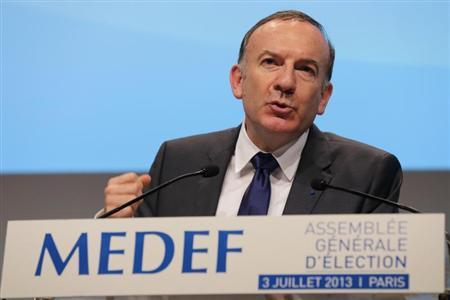 Pierre Gattaz, newly-elected head of France's main employers' association MEDEF, delivers a speech after his election in Paris, July 3, 2013. REUTERS/Philippe Wojazer