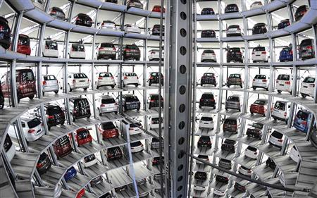 File picture shows Volkswagen cars in a delivery tower at the company's headquarters in Wolfsburg, March 12, 2012. REUTERS/Fabian Bimmer/Files