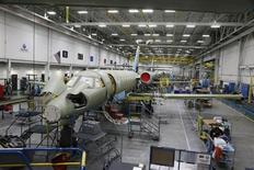 A view of the jet assembly line at a Cessna manufacturing plant in Wichita, Kansas March 12, 2013. REUTERS/Jeff Tuttle